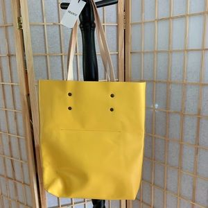 Yellow Leather Tote Bag NWT